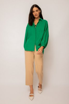 camisa de linho misto manga bufante verde - VERDE