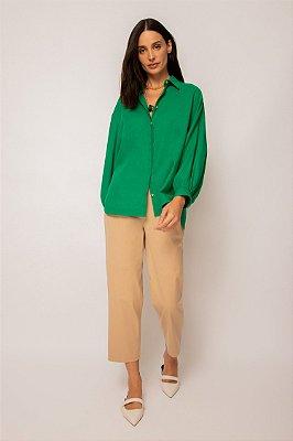 camisa de linho misto manga bufante verde