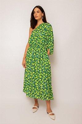 vestido ombro único franzido jardim - JARDIM
