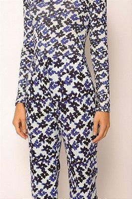 blusa de malha manga longa - FLORES AZUL