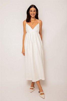 vestido recorte busto de algodão branco - BRANCO