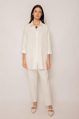 camisa oversized de algodão branco - BRANCO
