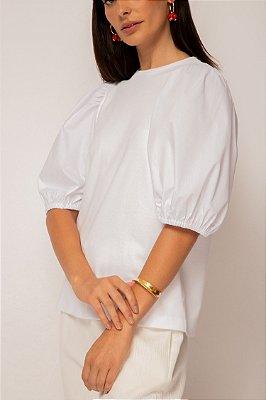 blusa de malha com tricoline branca - BRANCO