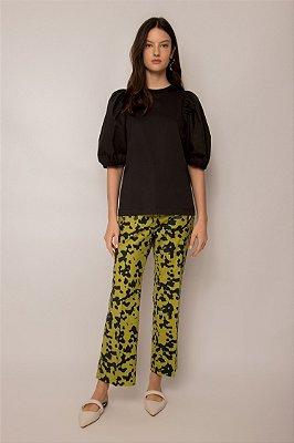 blusa de malha com tricoline preta