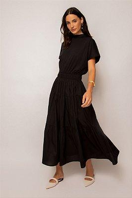 vestido de malha com tricoline gola alta preto