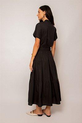 vestido de malha com tricoline gola alta preto - PRETO
