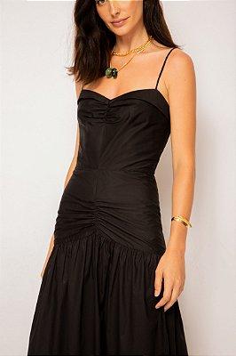 vestido de tricoline franzido preto - PRETO