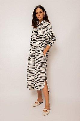 vestido chemise de tricoline zebrado pb