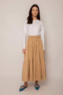 vestido de malha com algodão khaki e branco - KHAKI