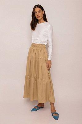 vestido de malha com algodão khaki e branco