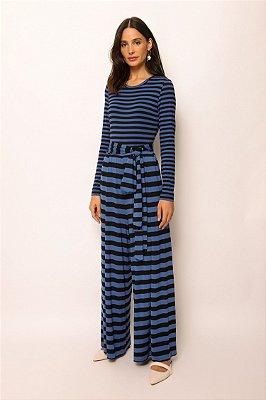 calça pantalona de malha listrado azul