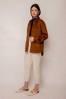 camisa de lã castanho
