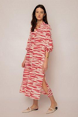 vestido chemise de linho misto zebrado cereja