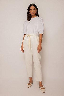 calça cós elástico de algodão branco - BRANCO