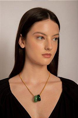colar de corrente com anéis de jade ouro - OURO