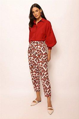 calça baggy de algodão flores cereja
