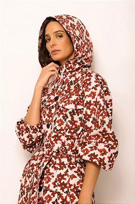parka com capuz de algodão flores cereja