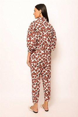 camisa com bolso de algodão flores cereja