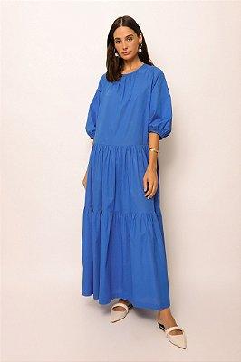 vestido longo amplo de voil azul