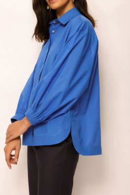 camisa manga bufante de voil azul