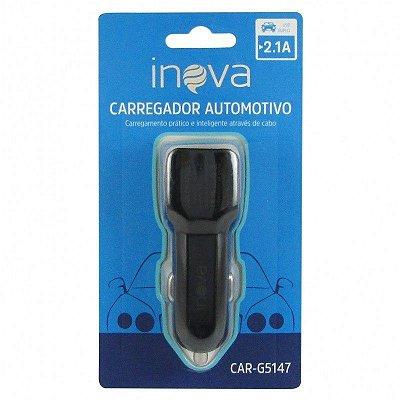 Carregador automotivo USB duplo 2.1A - Inova