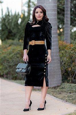 Vestido preto em Veludo - Kauly