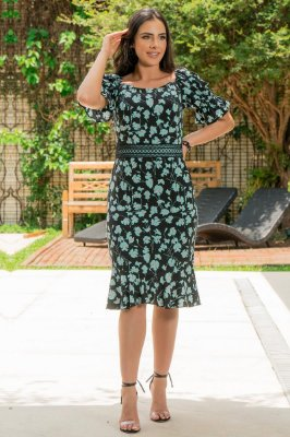 Vestido em Viscose Estampada - Luciana Pais