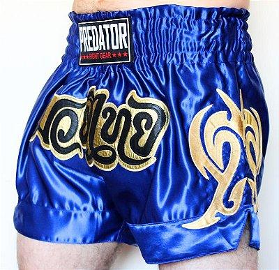Short de Muay Thai - Predator MMA - Thailand - Azul/Dourado