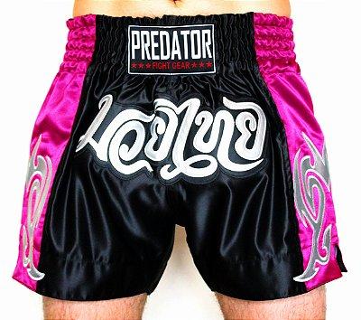 Short de Muay Thai CETIM - Predator MMA - Thailand - Preto/Pink