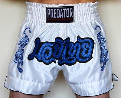 Short de Muay Thai CETIM - Predator MMA - Tigre - Branco/Azul