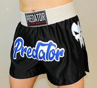Short de Muay Thai / Kickboxing CETIM - Predator MMA - Preto/Prata/Azul