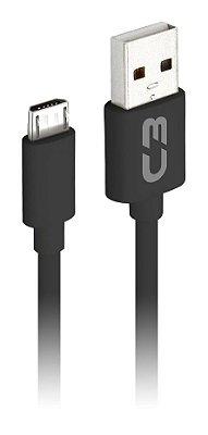 CABO MICRO USB 2 METROS 2A P/ CELULAR CARGA E DADOS C3PLUS CB-M20BK