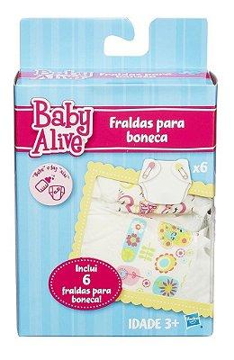 REFIL BABY ALIVE 6 FRALDAS PARA BONECAS HASBRO LACRADO
