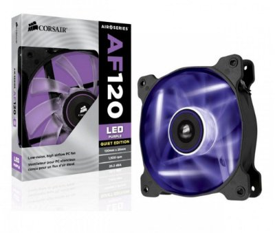COOLER FAN 120MM CORSAIR AF120 CO-9050015-PLED LED ROXO QUIET EDITION NOVO