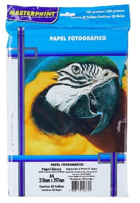 PAPEL FOTO GLOSSY MASTERPRINT 180 GRAMAS A4 50 FOLHAS
