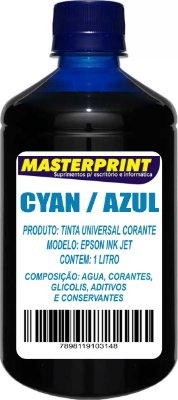 TINTA EPSON CORANTE UNIVERSAL MASTERPRINT 1 LITRO AZUL PARA BULK INK
