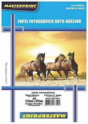 PAPEL FOTO GLOSSY AUTO ADESIVO MASTERPRINT 130 GRAMAS A4 20 FOLHAS