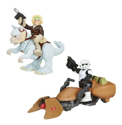 KIT 2 BONECOS STAR WARS C/ VEICULOS PLAYSKOOL HASBRO HAN SOLO SCOUT TROOPER