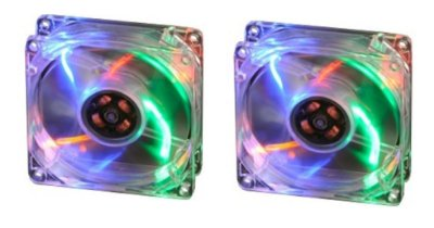 2 COOLER FAN AKASA LED COLORIDO 80MM 8CM AK-170CC-4RAS NOVOS P/ GABINETE