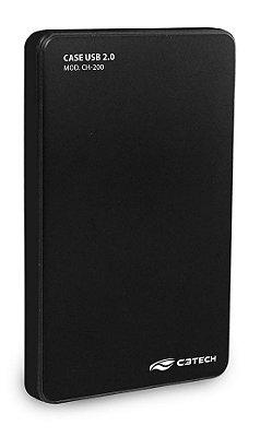 CASE HD SSD SATA 2,5 USB 2.0 C3TECH CH-200BK PRETO SUPORTA HD ATÉ 2TB