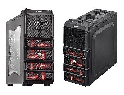 GABINETE GAMER PCYES RHINO C/ 3 COOLER 120MM LED VERMELHO USB 3.0 COMPATÍVEL SSD