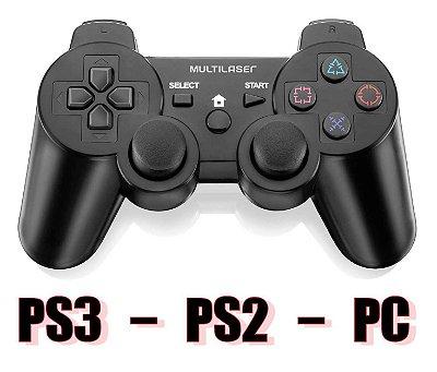 CONTROLE COM FIO PS3 PS2 PC MULTILASER JS071 LACRADO