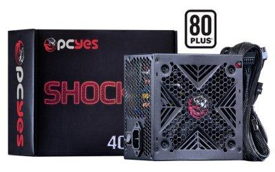 FONTE ATX PCYES SHOCKER 400W REAL 80 PLUS WHITE PFC ATIVO BIVOLT