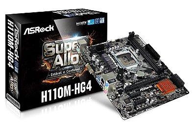 PLACA MÃE INTEL 1151 ASROCK H110M-HG4 MICRO ATX DDR4 USB 3.1 HDMI