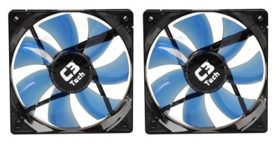 2 COOLER FAN LED AZUL C3TECH F7-L100BL STORM F7 12CM 120MM P/ GABINETE