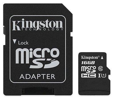 CARTÃO MICRO SD 16GB KINGSTON SDCS/16GB CLASSE 10 ORIGINAL C/ ADAPTADOR