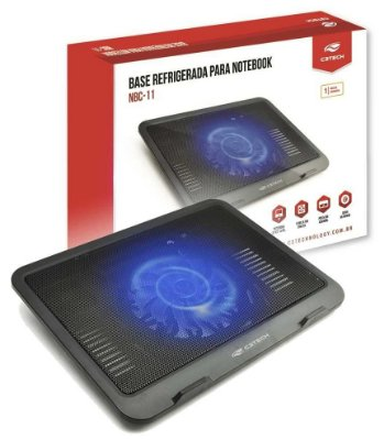BASE PARA NOTEBOOK COM COOLER 14CM LED AZUL C3TECH NBC-11BK