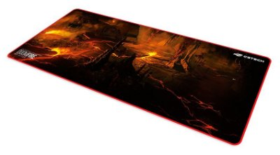 MOUSE PAD GAMER C3TECH DOOM FIRE 70 X 30 CM BORDA COSTURADA E BORRACHA ANTIDERRAPANTE