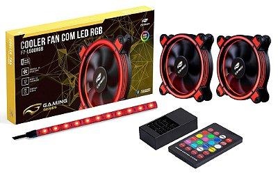 KIT 2 COOLER 12CM LED RGB + FITA DE LED RGB C3TECH F7-L500RGB P/ GABINETE
