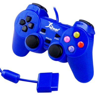 CONTROLE DUALSHOCK AZUL PS2 PLAYSTATION 2 KNUP KP-2121A